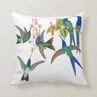 Exotic Blue Hummingbird Birds Flowers Throw Pillow