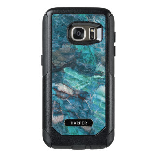 Exotic Blue Marble Pattern with Your Name OtterBox Samsung Galaxy S7 Case
