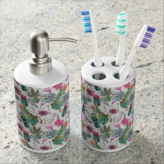 Exotic Boho Watercolor Cactus & Succulent Pattern Soap Dispenser And Toothbrush Holder