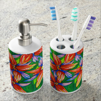 Exotic Bright Tropical Flower Watercolour Bath Set