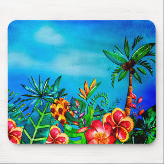 Exotic Colorful Flower Jungle - Aloha Mouse Pad