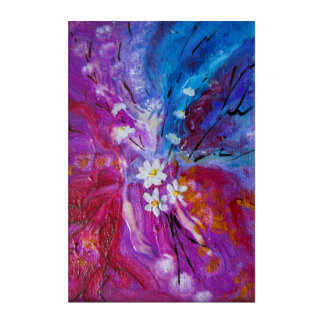 Exotic colorful flowers abstract composition acrylic wall art