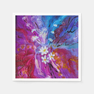 Exotic colorful flowers abstract composition napkin