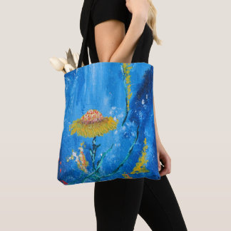 Exotic colorful flowers abstract composition tote bag