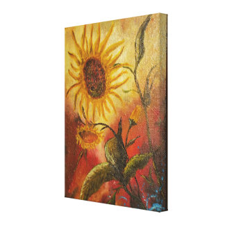 Exotic colorful sunflower abstract composition canvas print