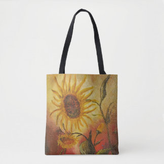 Exotic colorful sunflower abstract composition tote bag