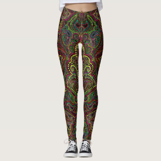 Exotic dotted paisley damask printed leggings