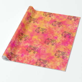 Exotic Eastern Elephant Tangle Doodle Pattern Wrapping Paper