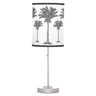 Exotic Elegant Black White Tropical Palm Trees Table Lamps