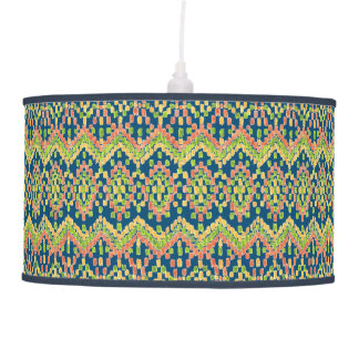 Exotic Ethnic Ikat Pattern on Blue Ceiling Lamp