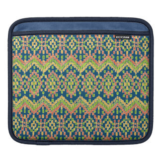 Exotic Ethnic Ikat Pattern on Blue Sleeves For iPads