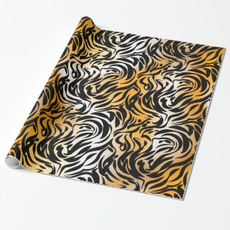 Exotic Fantasy Animal Print Tiger and Zebra Wrapping Paper
