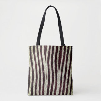Exotic Faux Fur Zebra Stripes Animal Print Tote Bag