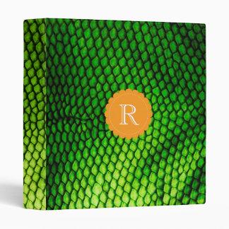 Exotic Faux Iguana Scales Pattern Monogram 3 Ring Binder