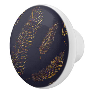Exotic Feather Motif Ceramic Knob
