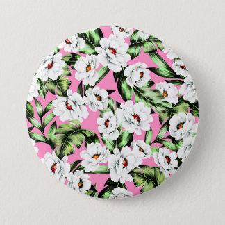 Exotic Flower Floral Pattern 3 Inch Round Button