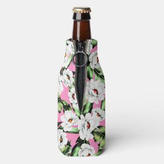 Exotic Flower Floral Pattern Bottle Cooler