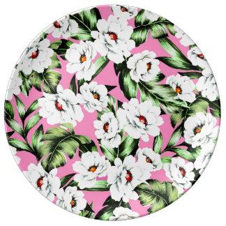 Exotic Flower Floral Pattern Porcelain Plates