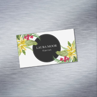 Exotic Flowers And Black Circle Business Card Magnet