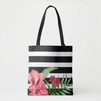 Exotic Flowers And Black White Stripes Tote Bag