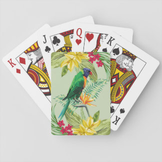 Exotic Flowers And Parrot Playing Cards