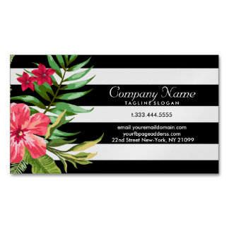 Exotic Flowers And White And Black Stripes Magnetic Business Card