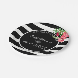 Exotic Flowers Black Stripes- Graduations 7 Inch Paper Plate