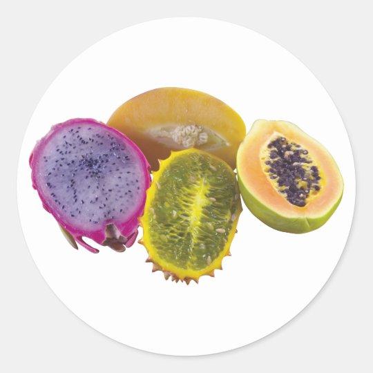 Exotic Fruits Classic Round Sticker