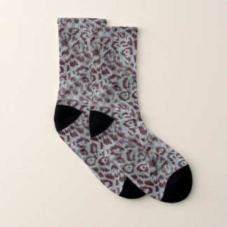 Exotic Furry Leopard Spots Dusty Blue Aubergine 1