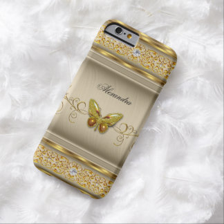 Exotic Gold Caramel Beige Butterfly Diamond 4 Barely There iPhone 6 Case