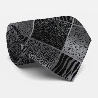 Exotic Gray Safari Animal Patterns Tie