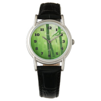 Exotic Green Bamboo With Shiny Bokeh Lights Watch
