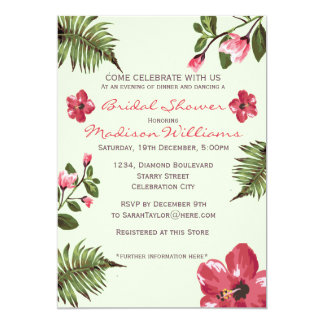Exotic Hibiscus & Tropical Leaves Bridal Shower Card