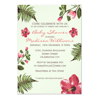 Exotic Hibiscus & Tropical Palm Leaves Baby Shower Card