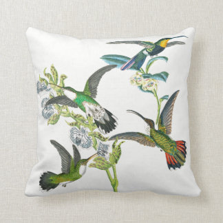 Exotic Hummingbird Birds Flowers Throw Pillow