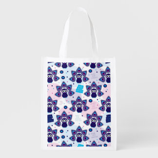 exotic india peacock pattern reusable grocery bag