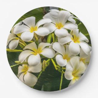 Exotic Island Plumeria Paper Plates 9 Inch Paper Plate