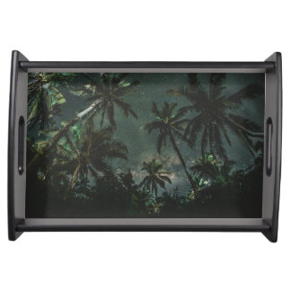 Exotic Jomalig Island Philippines at starry night Serving Tray
