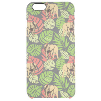 Exotic Jungle Leaves And Elephants Clear iPhone 6 Plus Case