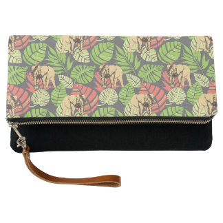 Exotic Jungle Leaves And Elephants Clutch