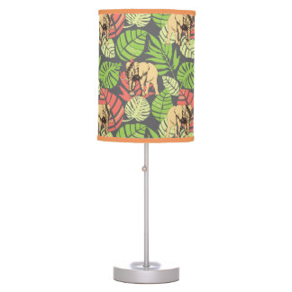 Exotic Jungle Leaves And Elephants Desk Lamps