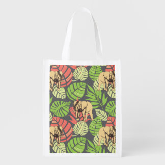 Exotic Jungle Leaves And Elephants Grocery Bags