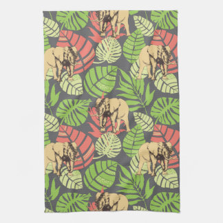Exotic Jungle Leaves And Elephants Kitchen Towel