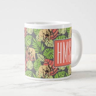 Exotic Jungle Leaves And Elephants | Monogram Giant Coffee Mug