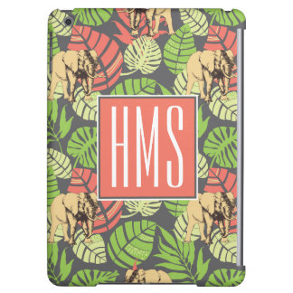 Exotic Jungle Leaves And Elephants | Monogram iPad Air Case