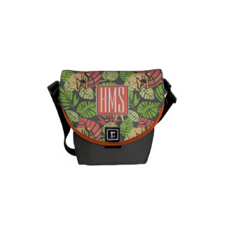Exotic Jungle Leaves And Elephants | Monogram Messenger Bag