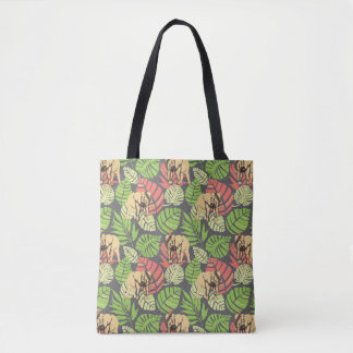 Exotic Jungle Leaves And Elephants Tote Bag