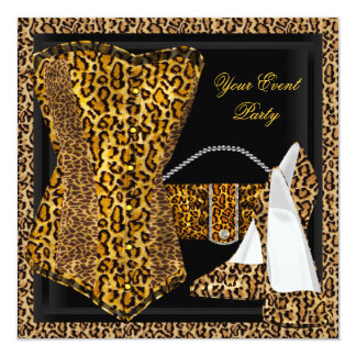 Exotic Leopard Black Gold High Heel Shoes Party Card