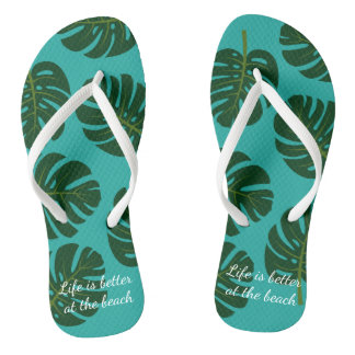 Exotic Monstera palm leaf floral beach flip flops