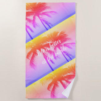 Exotic neon color palm tree sunset photo beach towel